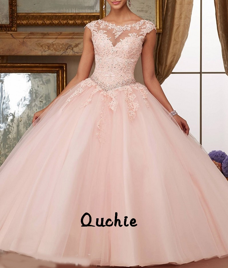 Peach Pink Red Sky Blue Cap Sleeves Lace Party Vestidos 15 Anos Vintage Quinceanera Dresses Colors Quinceanera Gown