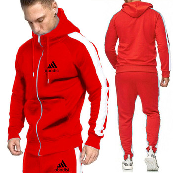 2020 men's fashion brand hooded suit spring and autumn winter casual sportswear suit two-piece hooded zipper men's sportswear su spring and autumn new men s suit sportswear zipper pocket casual sportswear running fitness men s brand suit
