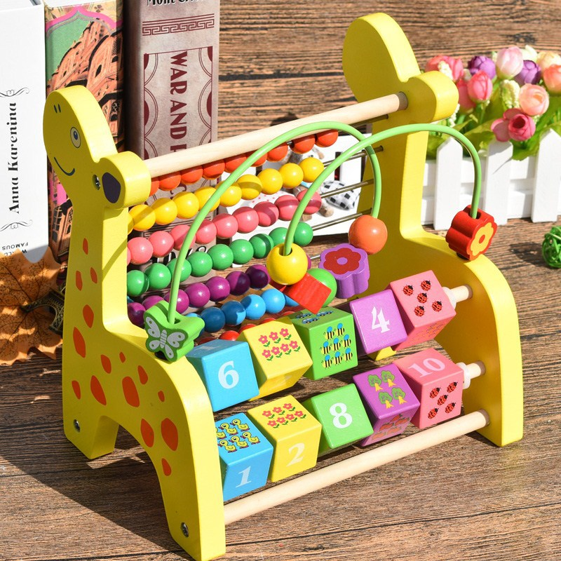 Children Zhu Suan Jia Count Numerology Rack Baby Educational String Bead-stringing Toy Wooden Small Giraffe Calculation Frame Ab