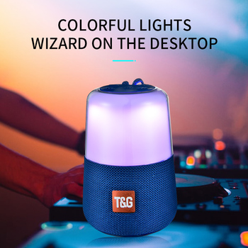 TG 168 LED Breathing Light Bluetooth Speaker Portable With Rope Mini Outdoor Loundspeakers 1200 mAh 5W Fabric Subwoofer FM Radio Audio Accessories Audio Video Electronics Portable Speakers