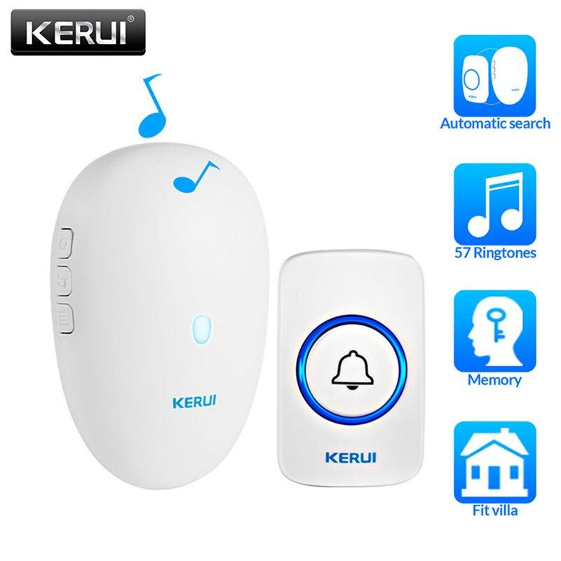 KERUI Home Security Welcome Wireless Doorbell Smart 57chime Doorbell Waterproof 300m Remote EU US Plug Wireless Button Doorbell