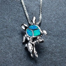 Women blue protein turtle necklace New fashion animal Silver Necklace Personality Charm Wedding Jewelry