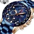 LIGE Heißer Mode Herren Uhren Top Brand Luxus Armbanduhr Quarz Uhr Blau Uhr Männer Wasserdichte Chronograph Relogio Masculino