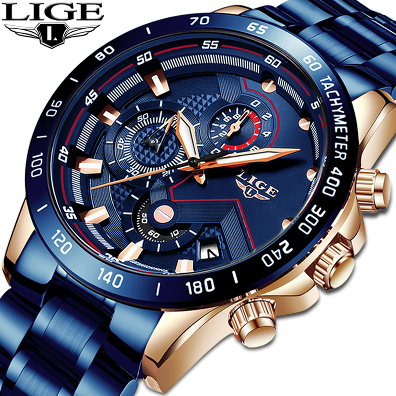 LIGE Hot Fashion Mens Watches Top Brand Luxury WristWatch Quartz Clock Blue Watch Men Waterproof Chronograph Relogio Masculino