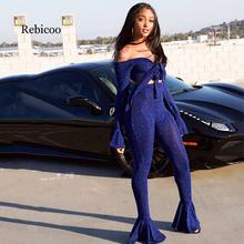 Sexy Shining Wire 2 Piece Suit Woman Crop Top Tie Bow Off Shoulder Flare Sleeve+ Skinny Pants High Stretchy Bell-bottoms Outfits shining knoted front metallic crop top