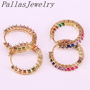 Image 3 - 6Pairs, Multicolor Zirconia Cz Micro Pave Fashion Gold Color Circle Earring Rainbow Cz Party Jewelry For Women Girl