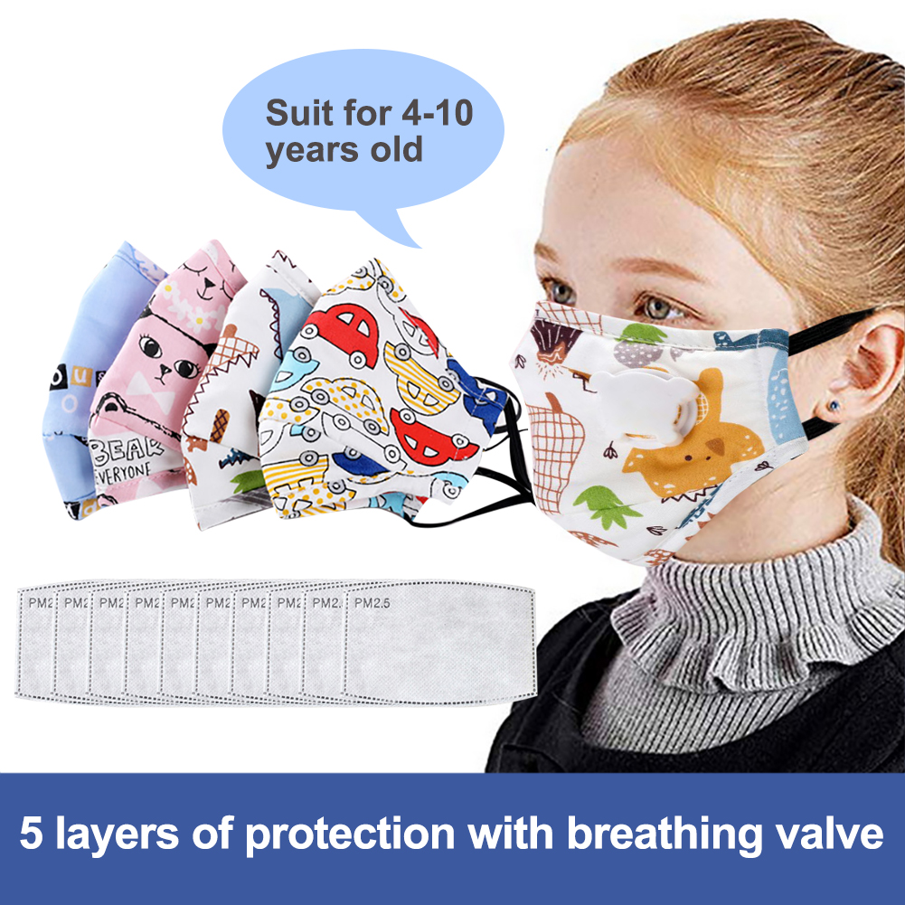 Anti Dust Face Mouth Mask Reusable Breathable Cotton Protective Children Kid Cartoon PM2.5 Anti-Dust Face Mask with 10pcs Filter