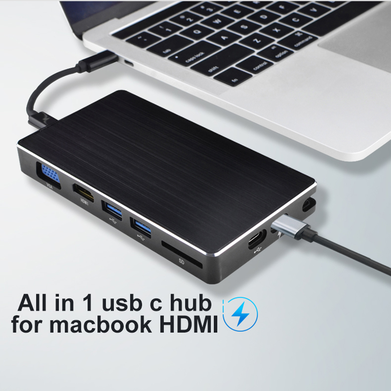 5-in-1 USB Type-C Hub HDMI 4K Gigabit Ethernet Rj45 Adapter for MacBook Pro PHX