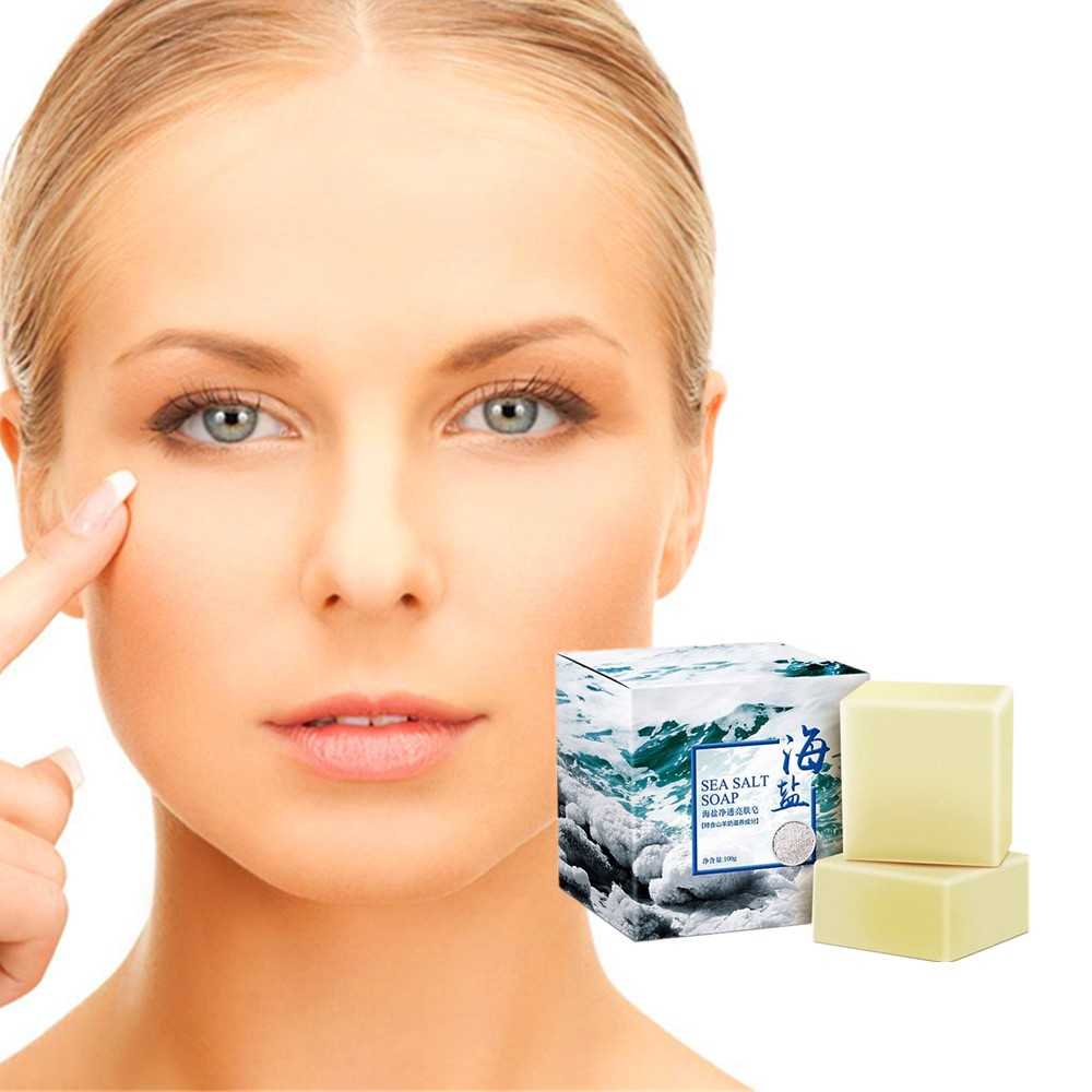 Sea salt soap rich foam milk whitening reduce black spots prevent acne soften keratin skin 100 grams free delivery in Cleansers from Beauty Health