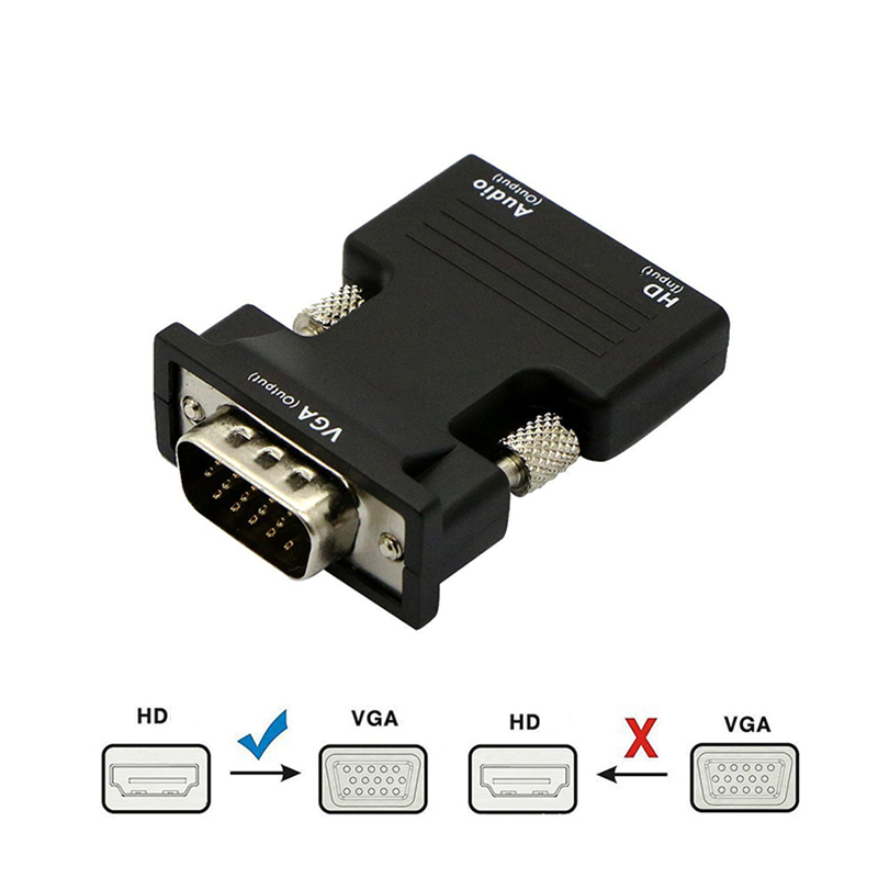 HDMI-compatible Female to VGA Male Converter 3.5mm Audio Cable Adapter 1080P FHD Video Output for PC Laptop TV Monitor Projector