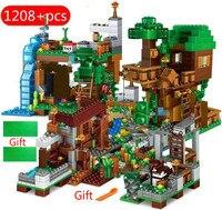 1208 pçs blocos de construção para legoinglys minecrafinglys aldeia warhorse cidade árvore casa cachoeira brinquedos educativos para crianças