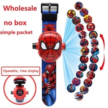 Wholesale Spiderman Children Watches Kids 3D Projection Cart
