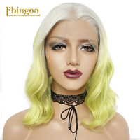 Ebingoo Short Natural Wave Bob Silver Grey Ombre Light Green Synthetic Lace Front Wig Middle Part Women Heat Resistant Fiber
