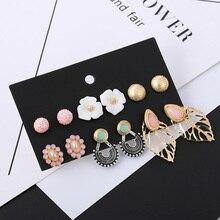 6Pcs/Set Cute Resin White Flower Earrings Set For Women Fashion Gold Metal Leaf Small Stud Earring Pink Rhinestone Ball Earring
