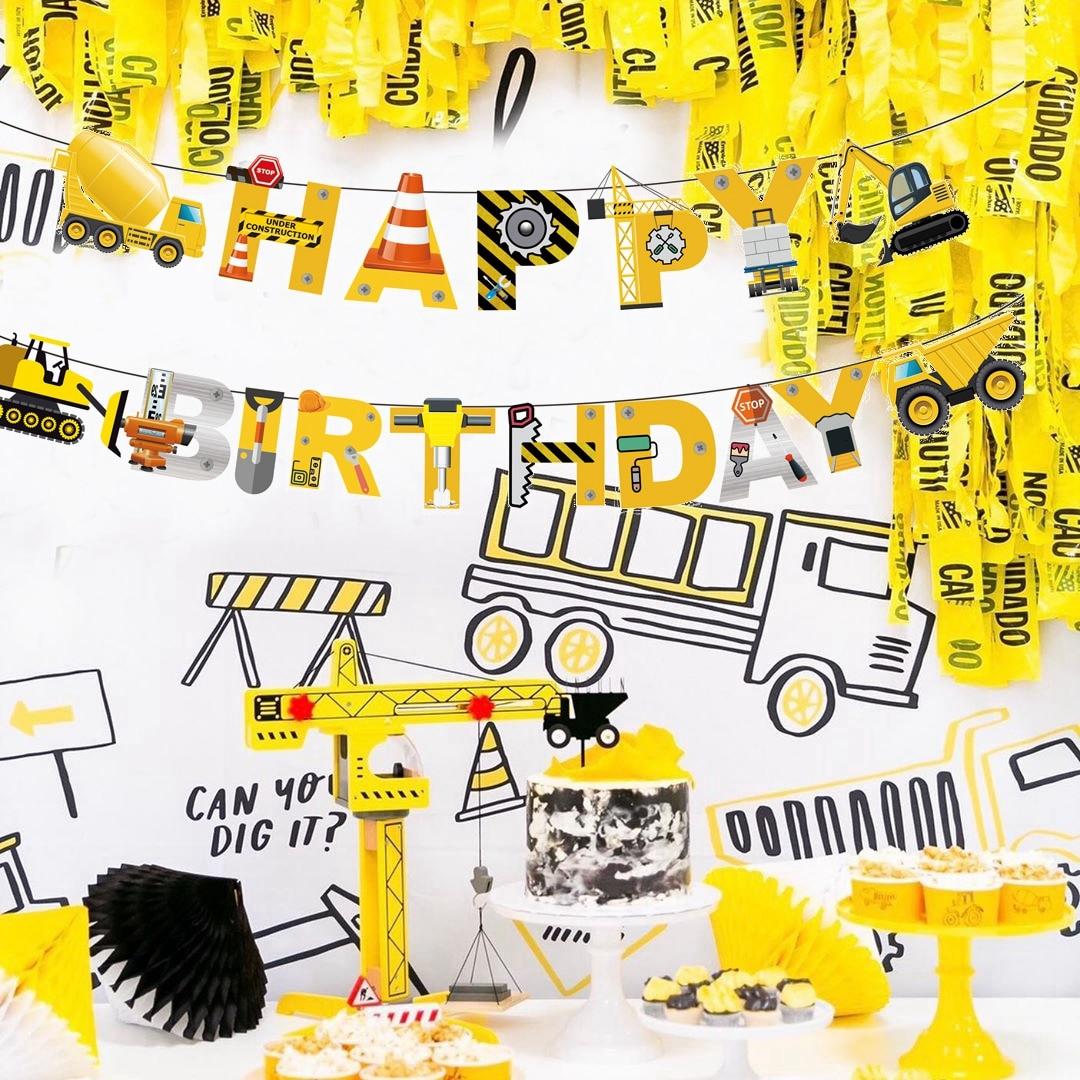 1Set Construction Happy Birthday Garland Excavator Vehicle Banners Baby Shower Kids Boys Birthday Party Banner Decor Supplies