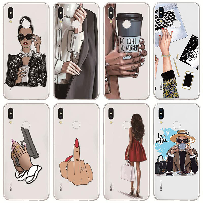 Black Brown Hair Fashion Queen Classy Case For Huawei Mate 30 20 P20 P30 P40 Pro P Smart Z Plus 2019 P10 P8 P9 Lite E 2017 TPU(China)