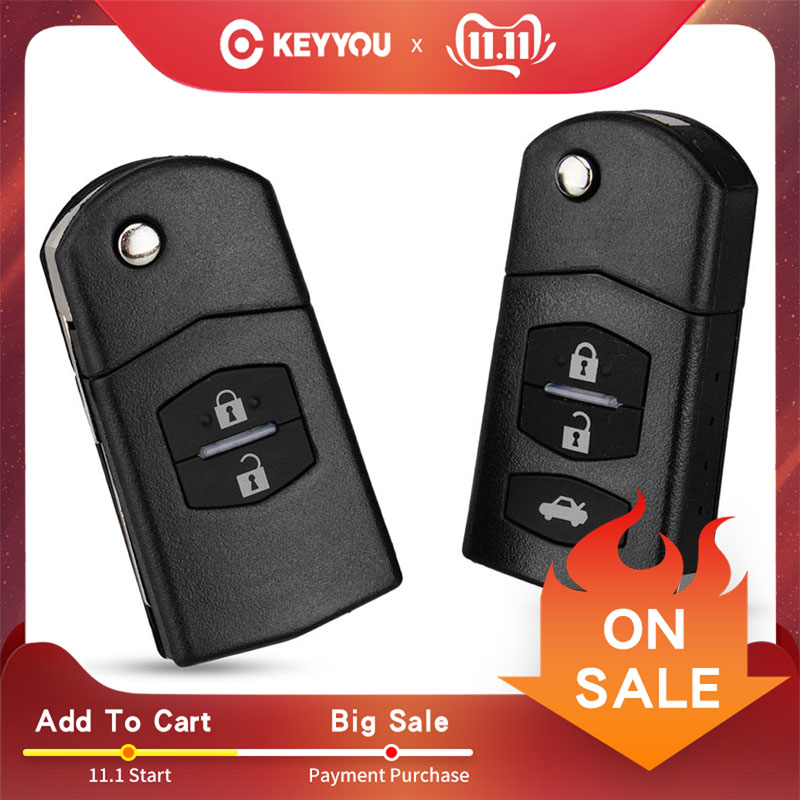 KEYYOU 2 Button Remote Key Fob Shell Case Folding Flip With Uncut Blade For Mazda 3 5 6 Free Shippping image