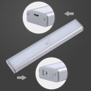 Image 5 - 3 צבע מצבים 20 LED אלחוטי PIR חיישן תנועת לילה אור תחת קבינט אור USB נטענת מגנטי מקל על הלילה אור