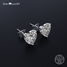 Shipei Sapphire Heart Stud Earrings for Women 925 Sterling Silver Hypoallergenic Birthday Gift