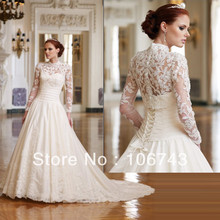 free shipping 2018 Long Sleeve New white/ivory lace appliques Bridal Gown Custom vestido de noiva