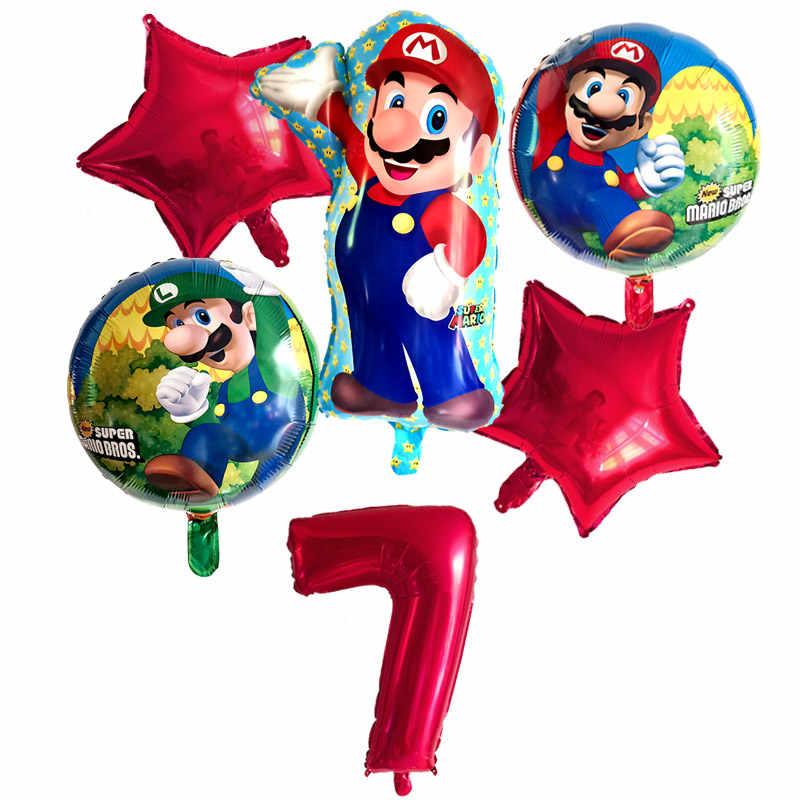 6pcs סופר מריו בלוני 32 אינץ מספר בלוני ילד ילדה מסיבת יום הולדת מריו Luigi Bros מיילר כחול אדום בלון סט דקור