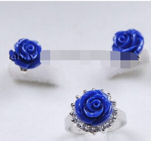 ++++ 12666 Charming!Fashion Hand Carved Blue Coral Flower Ring Earrings Set(China)