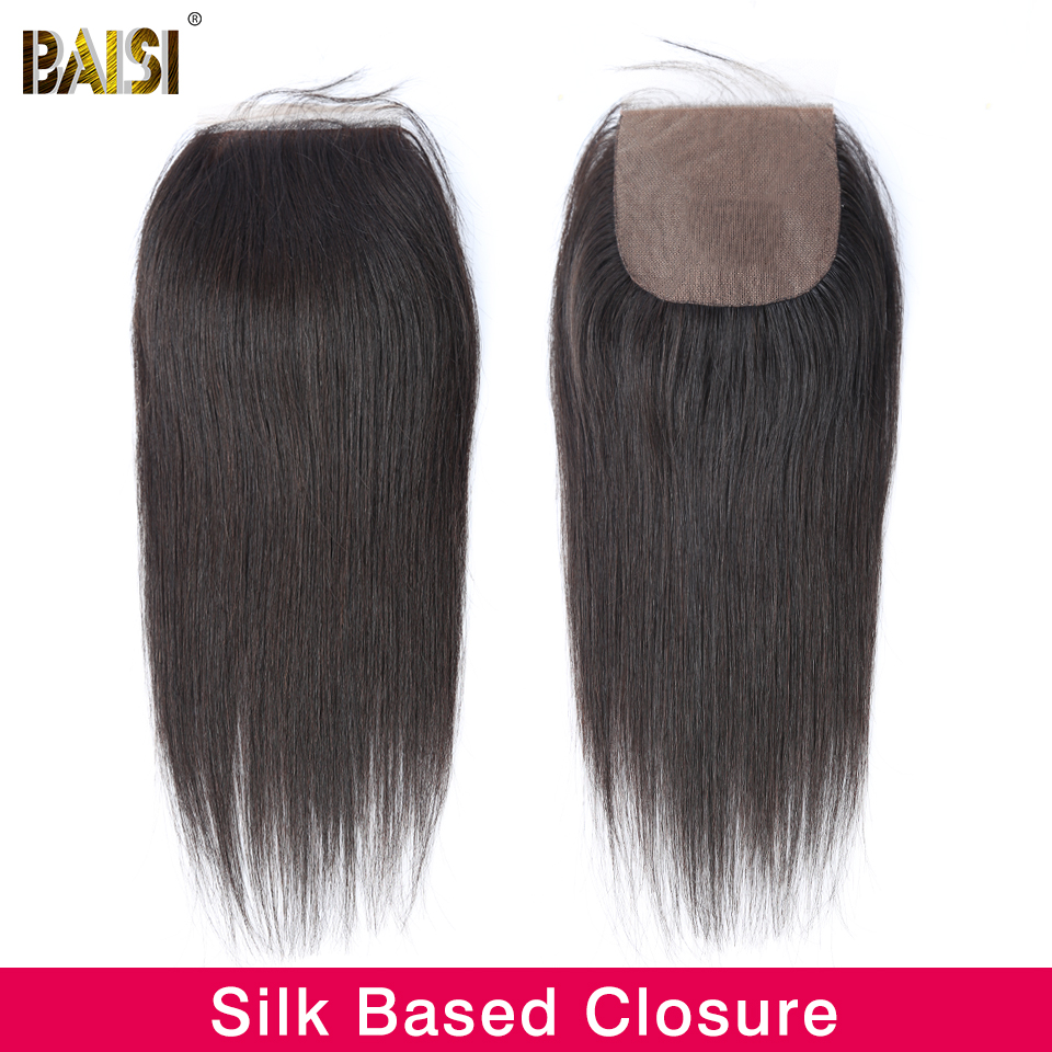 Image 3 - BAISI Hair Peruvian Straight Swiss Lace Closure 4x4 Middle Part Free Part Three Part 100% Human Hair-in Closures from Hair Extensions & Wigs