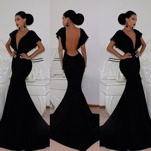Black Vintage Deep V Neck Cap Short Sleeves Evening Gown Mermaid Backless Meerjungfrau Abendkleid Mother Of The Bride Dresses