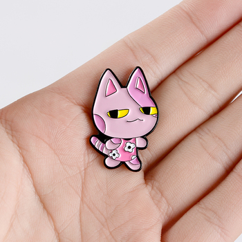 Bob Enamel Pin Cute Pink Purple Cat Kitty Game Jewelry brooches animal Lapel Pins for fans gift image