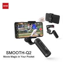 ZHIYUN Q2 смартфон карданный 3-осевой Карманный карданный стабилизатор для Gopro iPhone XS XR 8 7P huawei P30 Коврики 30 pro samsung S9 S8