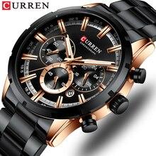 Lüks marka CURREN sportif izle erkek kuvars Chronograph saatı ile aydınlık eller 8355 moda paslanmaz çelik saat