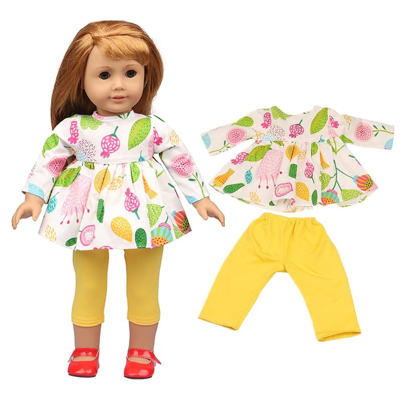 Wiosna moda dziewczyna 18 'zestaw ubrań ananas Partten dopasowane czerwone buty dla 43 Cm nowe lalki dla dzieci urodzonych, słodki styl, najlepszy prezent