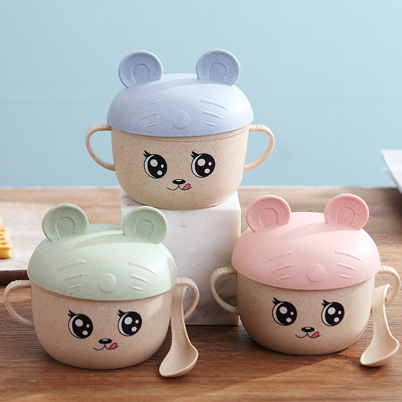 2pcs/set Cute Baby Cartoon Bowl Dishes Wheat Straw Children Food Container Infant Training Feeding Bowl Spoon Tableware Set