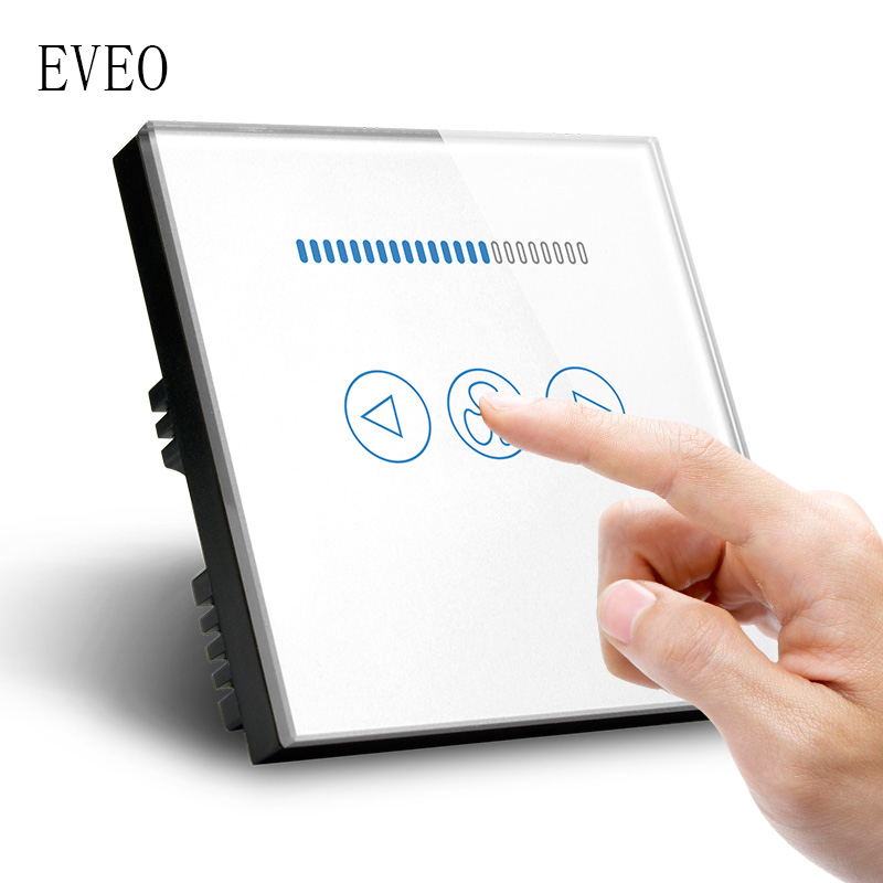EVEO, commutateur tactile Standard GB, interrupteur de ventilateur, interrupteur mural, panneau en verre trempé,