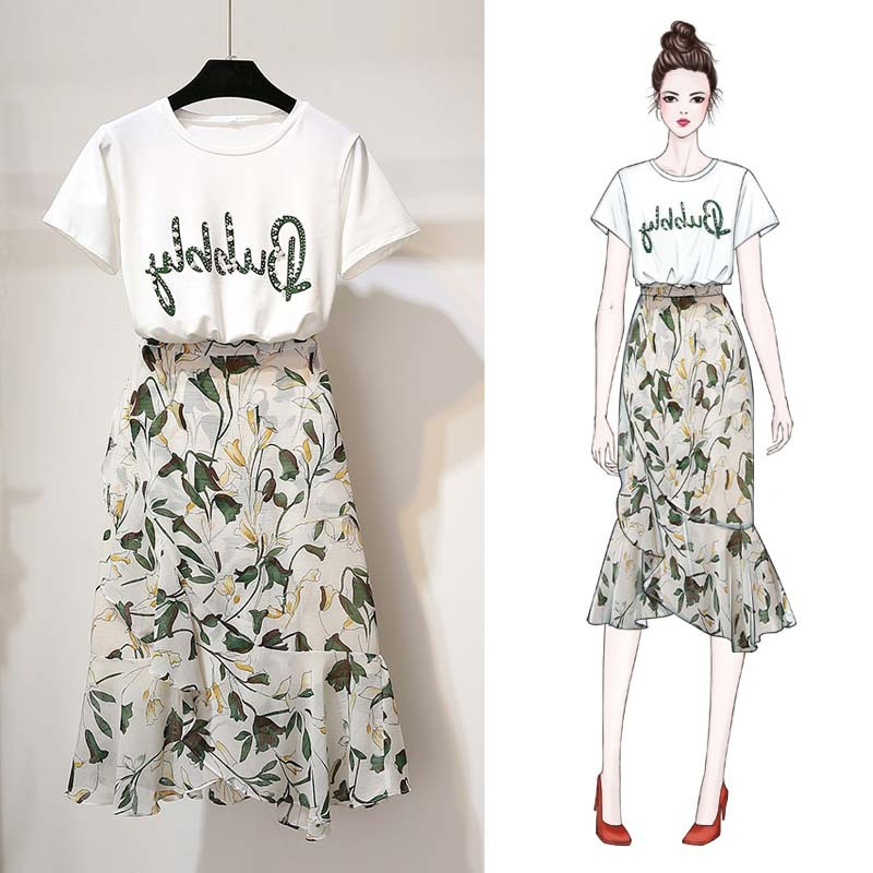 Online Celebrity Two-Piece Set Goddess Short Sleeve T-shirt With Floral-Print Long Skirts Summer Social Elegant Hong Kong Flavor