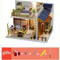 Japoński styl dom dla lalek drewniane domy dla lalek sypialnia miniaturowy domek dla lalek kast zestaw mebli domki dla lalek