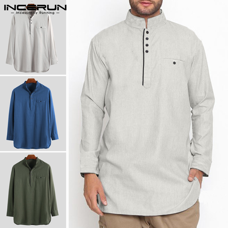 2019 Vintage Men Shirt Indian Clothing Cotton Stand Collar Button Long Sleeve Solid Longline Shirts Men Muslim Clothes INCERUN