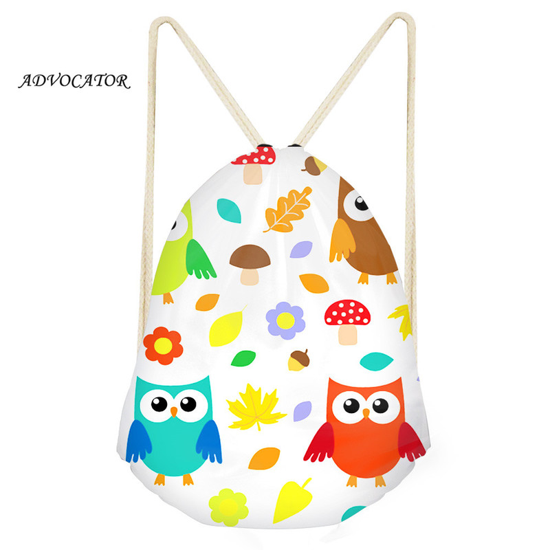 ADVOCATOR Cartoon Owl 3D Printing Drawstring Top Waterproof Pocket For Boys And Girl Storage Bag Christmas Gift Bags Sac Cordon