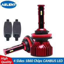 ASLENT New 4 Side Lumens 1860 chips 56W REAL 10000lm H1 H3 H7 H11 9005 9006 Car LED Headlight Bulbs Auto Led Headlamp Light 12v