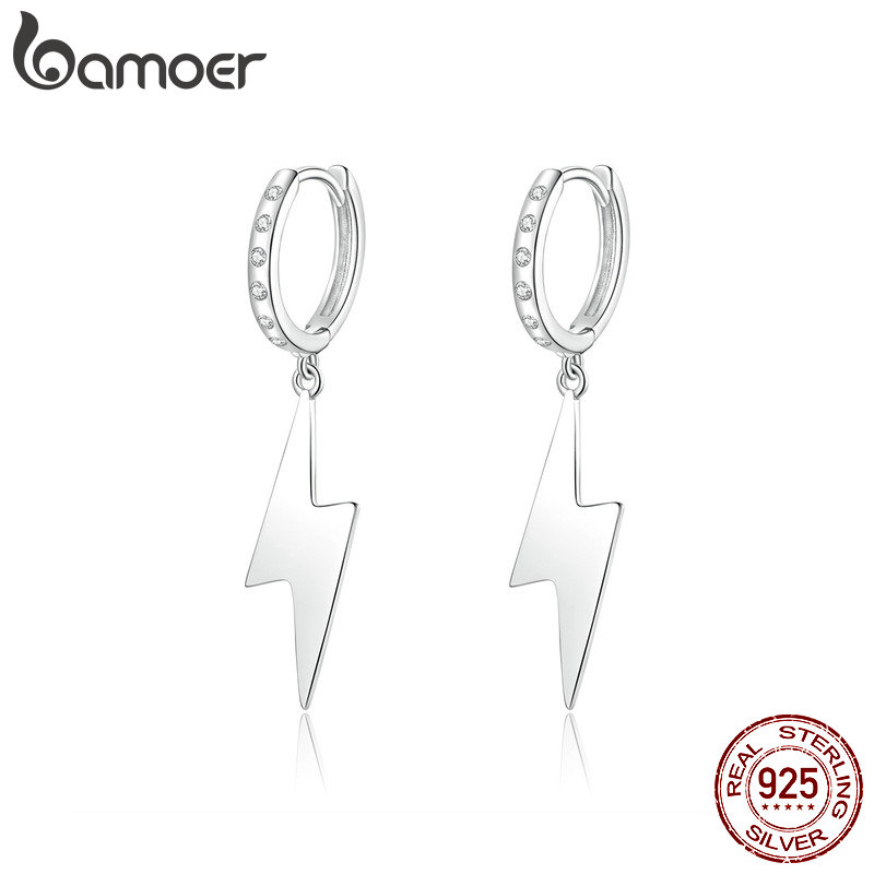 bamoer Flash Lightning Dangle <font><b>Earrings</b></font> with Charm 925 Sterling Silver Femme Hiphop <font><b>Earrings</b></font> <font><b>for</b></font> Wome <font><b>Men</b></font> <font><b>Unisex</b></font> Jewlery BSE221 image