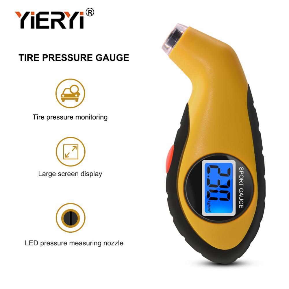 Yieryi Tyre Air Pressure Gauge Meter Electronic Digital LCD Car Tire Manometer Barometers Tester Tool For Auto Car Motorcycle