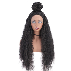 Curly Hair 13*4 Lace Front Wigs Natural Synthetic Long Wigs Heat Resistant Fiber Hair Black Color for Black Women
