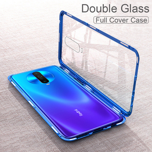 Image 1 - Magnetic Filp Phone Case For Xiaomi Redmi K30 K20 Double Glass Metal Case on redmi 8 8a note 8T 8 7 Pro Protective Coque Cover