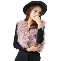 Ostrich feather vest Bolero Gray ladies women fur waistcoat autumn winter clothing accessories pink black color short vest V35