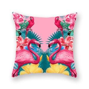 Image 5 - YORIWOO Hawaii Flamingo dekorasyon mutlu doğum günü yastık kılıfı kanepe tropikal minder örtüsü yastık kılıfı Hawaii parti süslemeleri