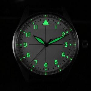 Image 5 - サンマーティンパイロットファッションシンプルな腕時計ビジネスホワイトダイヤル自動メンズ機械式時計革 200 メートル防水発光