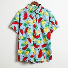 Beach Hawaiian Shirts Men Clothes 2019 Summer Fashion Coconut Tree Printed Short Sleeve Button Down Hawaiian Aloha Shirts Mens цена 2017