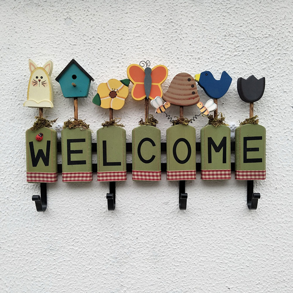 1pcs Creative Welcome Sign Hanger Wooden Clothes Hook Home Wall Hanging Storage Rack Kitchen Hangers Decoration Hook