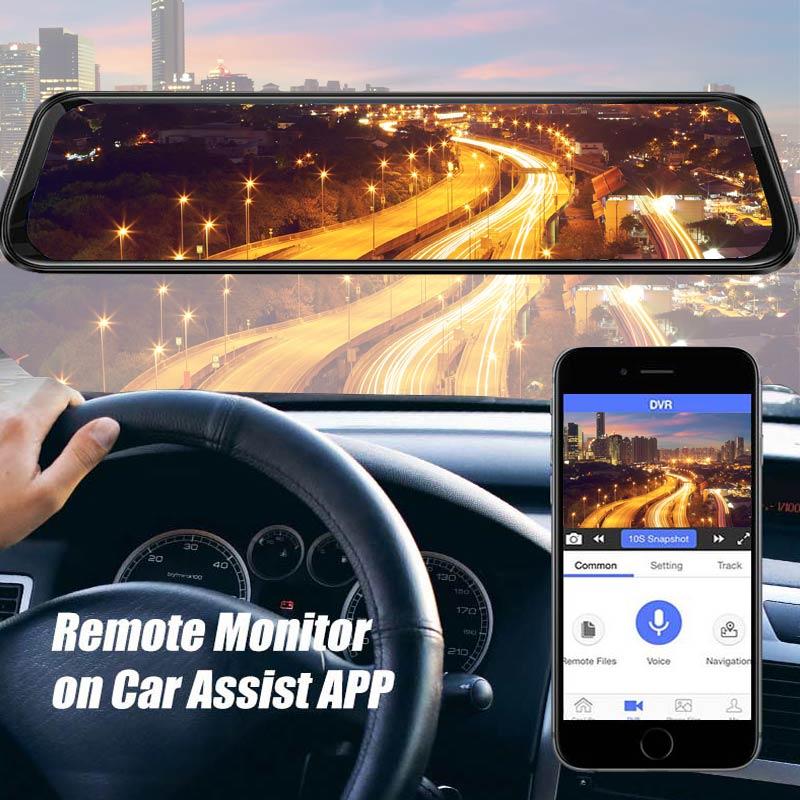2019 12 pouces Android 8.1 voiture DVRs caméra GPS Navi Bluetooth FHD rétroviseur avec caméra DVR enregistreur 4G Wifi ADAS Dash Cam - 4