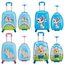 дети дорожного чемодана вращающихся колес детской ручной кладью кабина тележка камера Сумка чехол прокатки багаж для малыша подарки